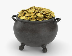 various 3D Pot with Gold Coins