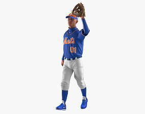 3D Baseball Player Rigged Mets
