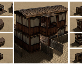 3D asset Modular Wooden Desert Houses Interior Exterior 2