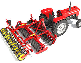 Tractor with Disc Harrow 3D model