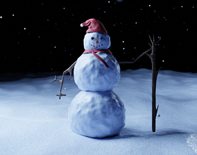 Cute Low-poly snowman 3D model