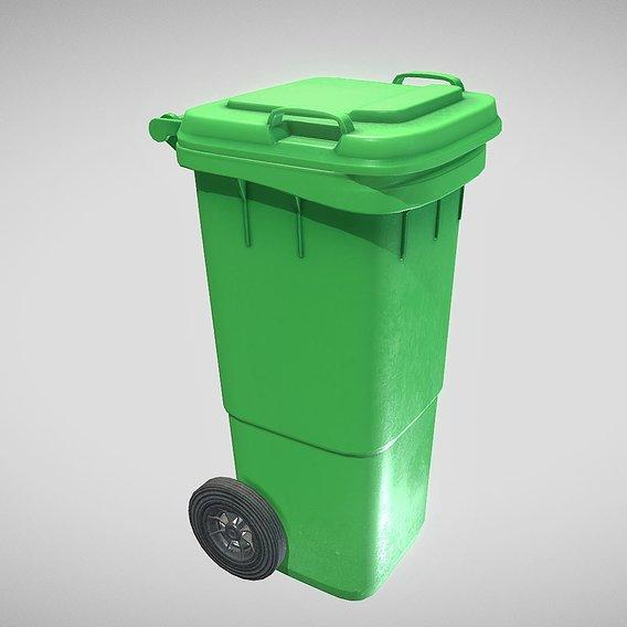 Green Plastic Waste Bin 60 Liters 945x360x448