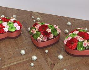 3D model Flower box heart shape - LOW POLY -