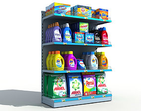 Supermarket Shelves Detergents 3D retail