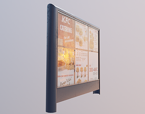 3D model large restaurant menu billboard sign