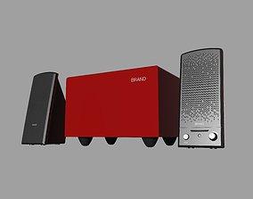 3D print model Red and black desktop Stereo 2-1 speaker
