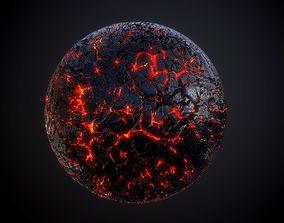 Lava Rock Ground Terrain Seamless PBR Texture 3D