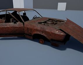 Rusty coupe low poly 3D asset
