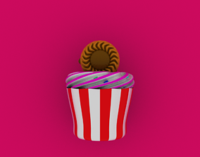 Cupcakes with biscuit 3D