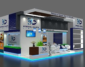 3D model Exhibition Stall size 8x6Mtr Two Side Open