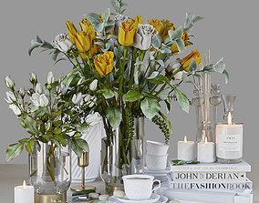 3D model Yellow roses porcelain