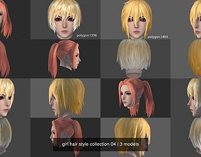 3D model girl hair style collection 04