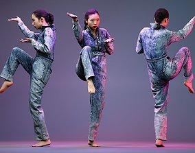 Tai Chi Girl in Jeans Salopet 3D model