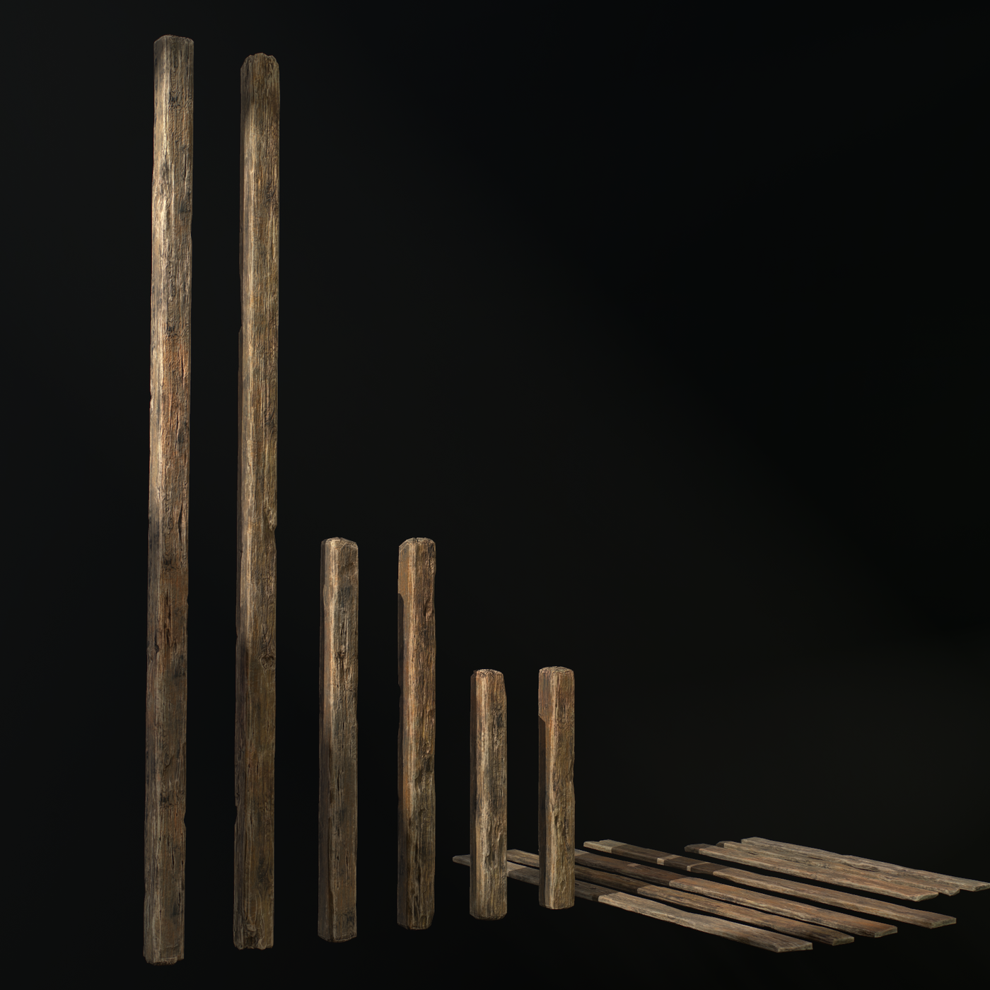 Wooden balks and planks