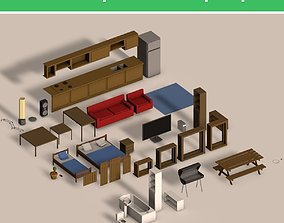 3D asset Low Poly Interior Props