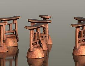3D asset Headrest Africa Wood Furniture Prop 10
