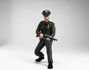 polieman gun in hand ready to shoot low 3D asset 3