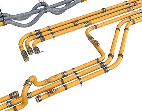3D asset Modular Pipes - Industrial Painted Yellow