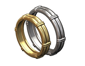 Solid double wire ring with links 3D printable model