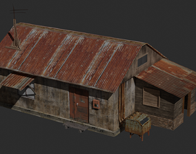 3D asset Low Post-Apocalyptic House Dirty