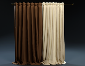 3D Double Color Curtains - Brown White Grey Red