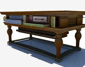 3D Antique Table with many drawers