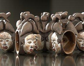 Afrikan Mask Carved Wood 45 3D model
