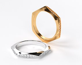 geometric gold wedding ring with diamonds 3D print model