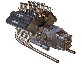 3D model V8 car Ford Engine inspired by lotus 49