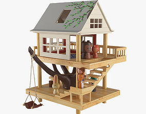 3D Wooden toy house with animal figurines