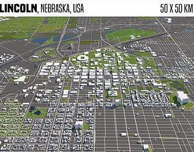 3D model Lincoln Nebraska USA 50x50km