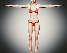 3D asset Rigged Clothed Woman 01 - with inner wears