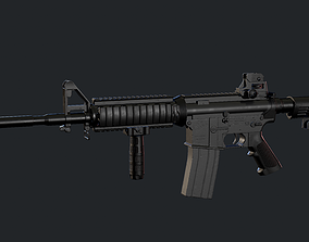 3D asset M4A1 Carbine with attachments and red dot