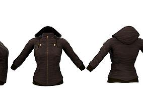 Winter Hoodie Leather Jacket 3D model