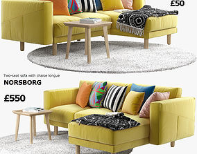 IKEA NORSBORG Two-seat sofa with chaise longue 3D model