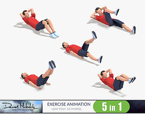 3D model 5 Exercise Animations Small Pack