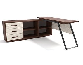 wood 3D model Office Table