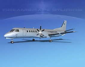 3D animated SAAB SF2000 Swedish Air Force
