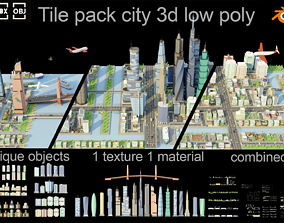 Tile pack city 3d low poly 2 game-ready architecture