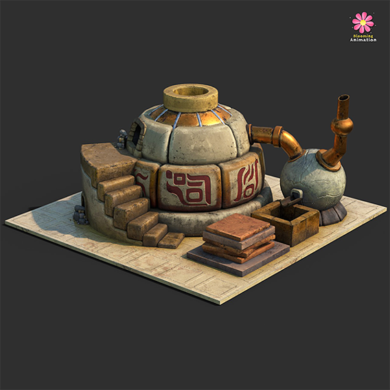 Low Poly Ancient Furnace || Textured