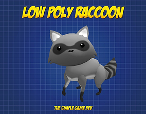 3D asset Cute Low Poly Raccoon