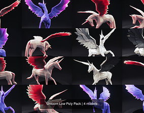 Unicorn Low Poly Pack 3D