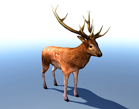 animated Stag 3D Model