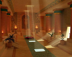3D model Egyptian temple fire