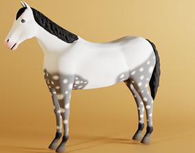 3D asset Grey Horse