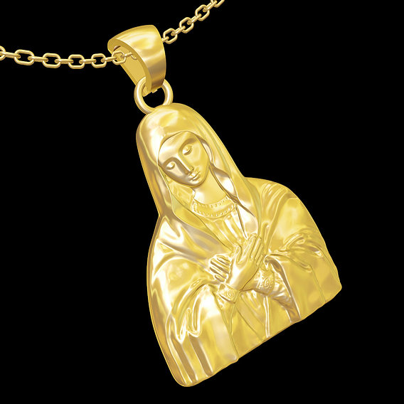 Virgin Mary pendant jewelry gold necklace medallion 3D print model