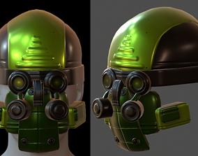 PBR obj Gas mask helmet 3d model scifi Low-poly