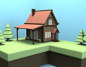 low-poly Low Poly Wooden House 3D model