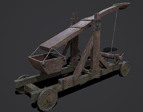 3D model VR / AR ready Medieval Catapult