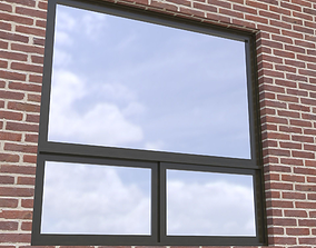 Modern architectural window fixed with bottom 3D model 1